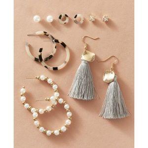 Jewelry - 6-Piece Earring Set | Pearls, Tassels, Gold